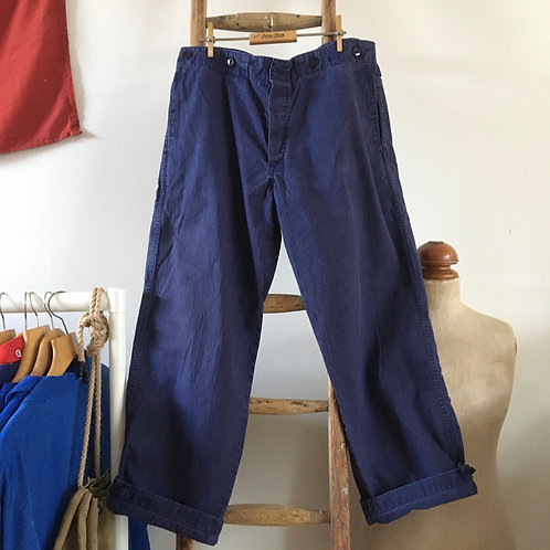 Vintage Cotton Cinch Back Workwear Trousers W36""