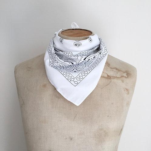 Vintage Style Bandana Neckerchief Scarf/ White