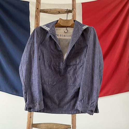 True Vintage 1974 French Marine Popover Sailor Smock Shirt XS/ S