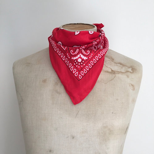 Vintage Bandana Neckerchief Scarf/ Red