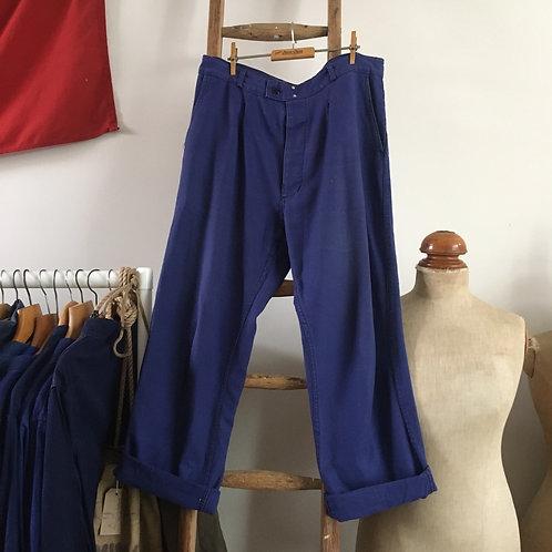 "True Vintage French Solida Bleu de Travail Workwear Trousers W36"" 37"""