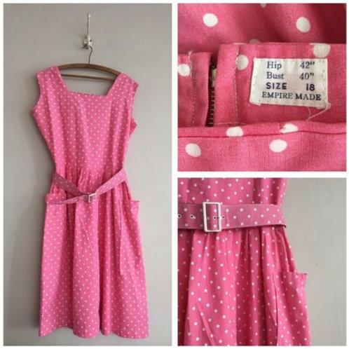 """True Vintage 1950s Pink Polka Belted Dress UK14 W32"""""""