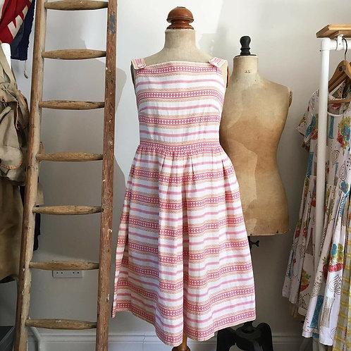 True Vintage Italian 1950s Elda Modelli Embroidred Cotton Dress UK10