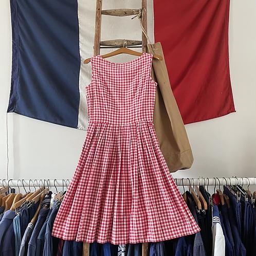 "True Vintage 1950s Gingham Cotton Dress UK8 10 W28"""