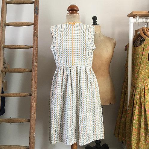 "Original Vintage 1950s Printed Cotton Day Dress UK12 14 W32"""