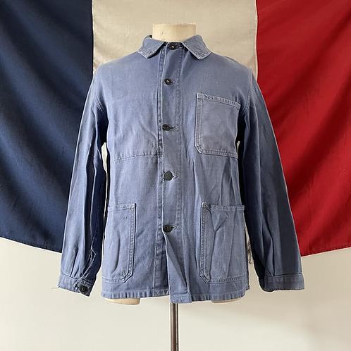 True Vintage 1940s/50s French Le Pelerin Faded & Darned Workwear Jacket S- M