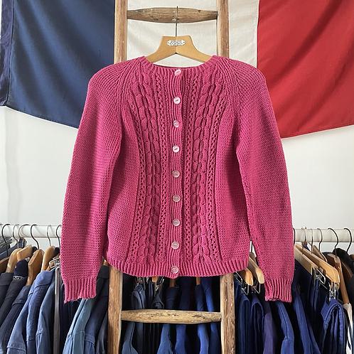 True Vintage 1950s/60s Hand Knit Wool Cardigan S