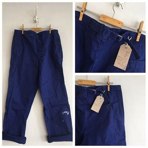 "Vintage Cotton Herringbone Cinch Back Chore Trousers 37"""