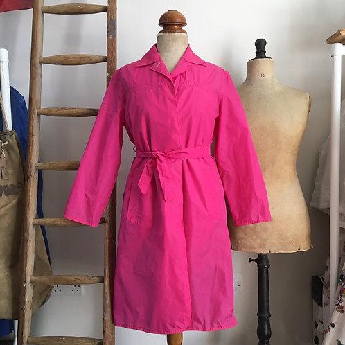 True Vintage 1960s Shocking Pink Trench Coat Mac UK8 10 12