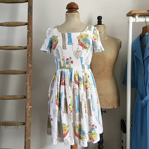 "True Vintage 1950s Floral Abstract Dress UK8 W26""/ 27"""
