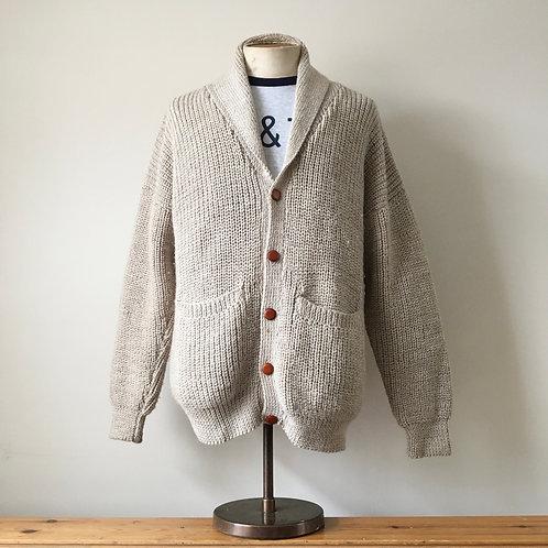 True Vintage Chunky Hand Knit Wool Cardigan XL