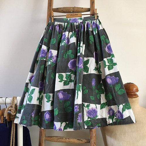 "True Vintage 1950s Telsada Floral Print Cotton Skirt W24"" UK6"