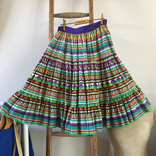 "True Vintage 1950s Tiered Cotton Print Skirt UK10 12 W29"""
