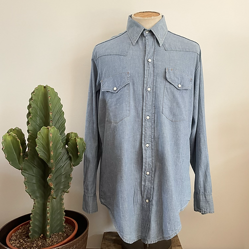 True Vintage USA Bar F Western Wear Chambray Shirt XL