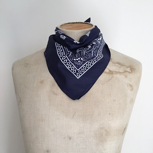 Vintage Style Bandana Neckerchief Scarf/ Navy