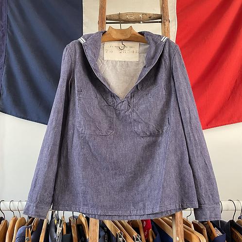 True Vintage 1975 French Marine Popover Smock Shirt S M