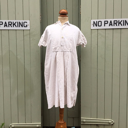 Antique 1900s French Linen Patched Smock Shirt Dress M
