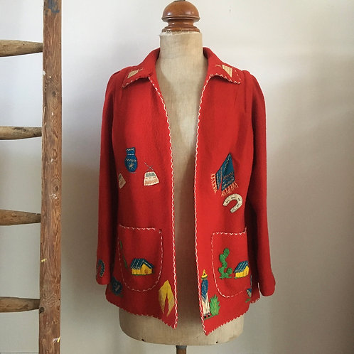 True Vintage 1940s/50s 'Arte Azteca' Embroidered Mexican Tourist Jacket M