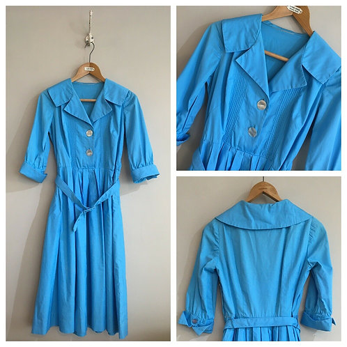 True Vintage 1950s Cotton Dress UK10 12 W29""