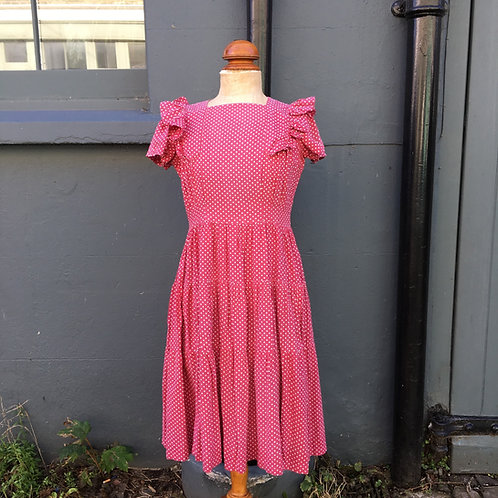 "True Vintage 1940s Polka Dot Dress UK10 12 W30"""