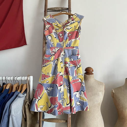 "True Vintage 1950s Italian 'Hosfel' Print Dress UK8 10 W27"""