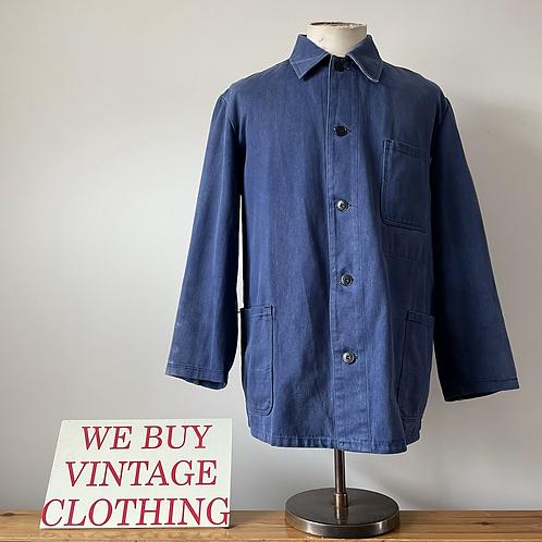 Vintage German Cotton Denim Workwear Chore Jacket XL