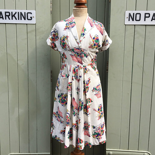 "True Vintage 1940s/50s Everglaze Scenic Novelty Print Dress UK12 W30"""