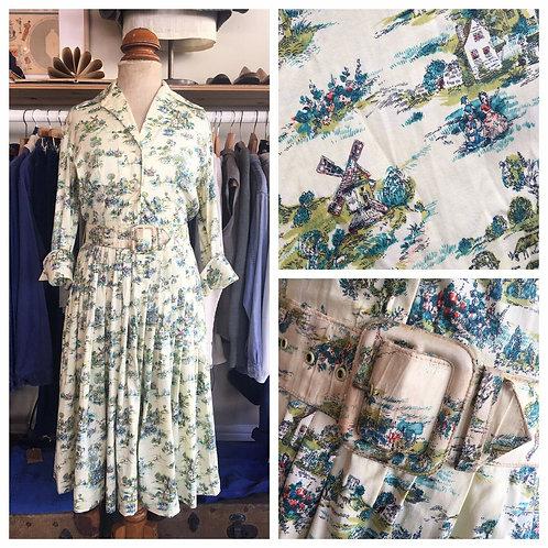 "True Vintage Scenic Print Cotton Belted Dress UK6 8 W26"""