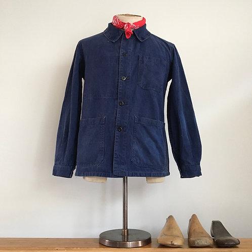 True Vintage French Indigo Twill Workwear Jacket S