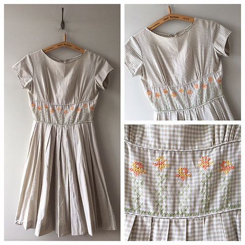 True Vintage USA Embroidered Gingham Check Dress UK8 10 W27""
