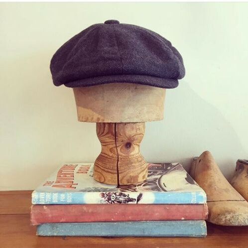 Vintage 1940s/50s Style Blue Flecked Newsboy Cap S/M