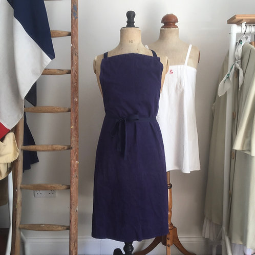 True Vintage French Cotton Shop/ Chef/ Artist Apron Pinafore One Size