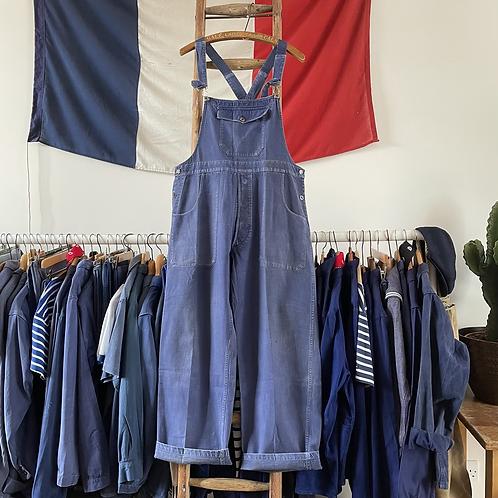 True Vintage 1940s Le Très Souple Bleu de Travail Workwear Dungarees M/ L