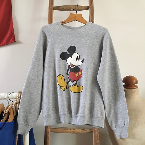 True Vintage USA Mickey Mouse Grey Marl Sweatshirt M