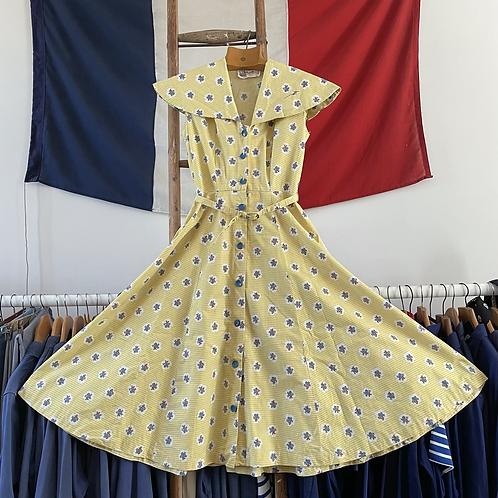 "True Vintage 1950s The Linzi Line Cotton Print Dress UK8 10 W28"""