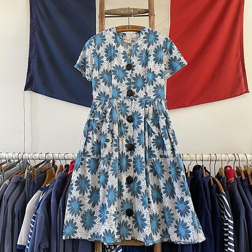 """True Vintage 1950s/60s Belmont De Luxe Cotton Print Dress UK12 30"""""""