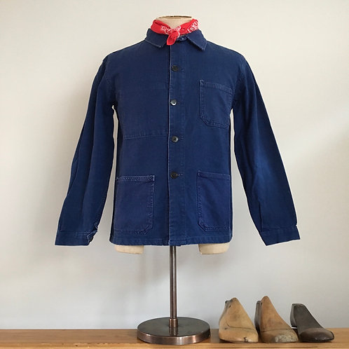 True Vintage French Indigo Twill Workwear Jacket S