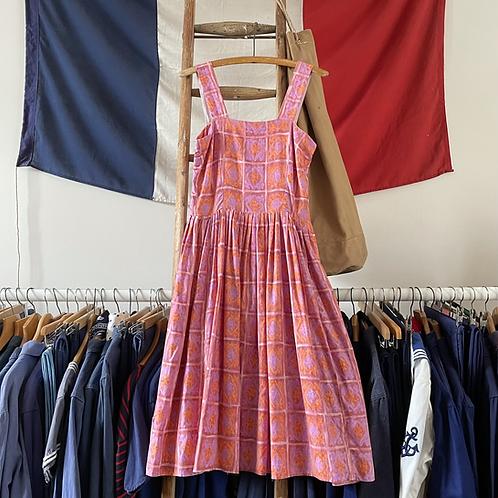 "True Vintage 1950s Painterly Print Cotton Dress UK10 W29"""