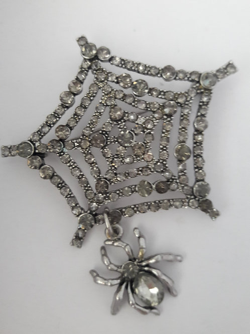 Stunning Grey Diamante Spiders Web Brooch Pin Pendant