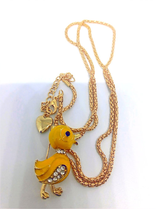 Yellow Enamel Duckling Pendant Chain Complete Nekclace