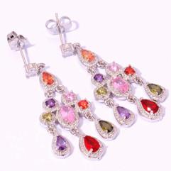 925 Silver Precious Stones Earrings