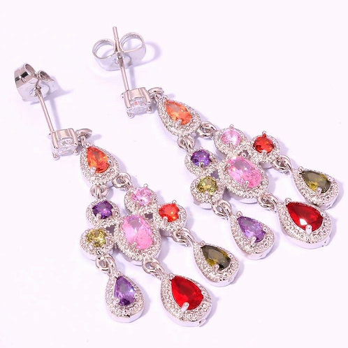 925 Silver Multi Semi Precious Stone Dangle Earrings