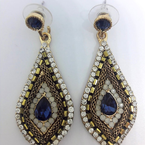 White Diamante Sapphire Blue Evil Eye Turkish Drop Earrings