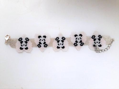 Childrens Loveheart Panda Pink Seed Bead Bracelet