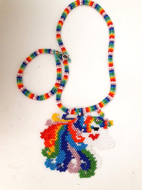 Childrens Rainbow Unicorn of Love Seed Bead Pendant Necklace