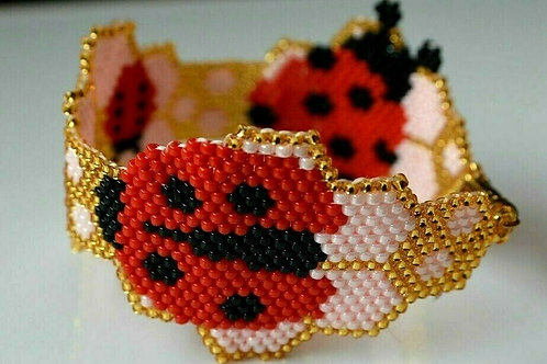 Childrens Ladybird Pink Red Gold Black Seed Bead Bracelet