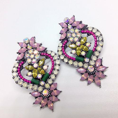 Multi Pink Chandelier Crystal Drop Pierced Earrings