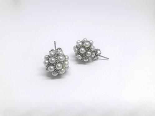 Classic Rhodium Pearl Bundle Stud Earrings