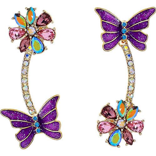 Purple Pink Alternate Butterfly Jewelled Pierced Earrings