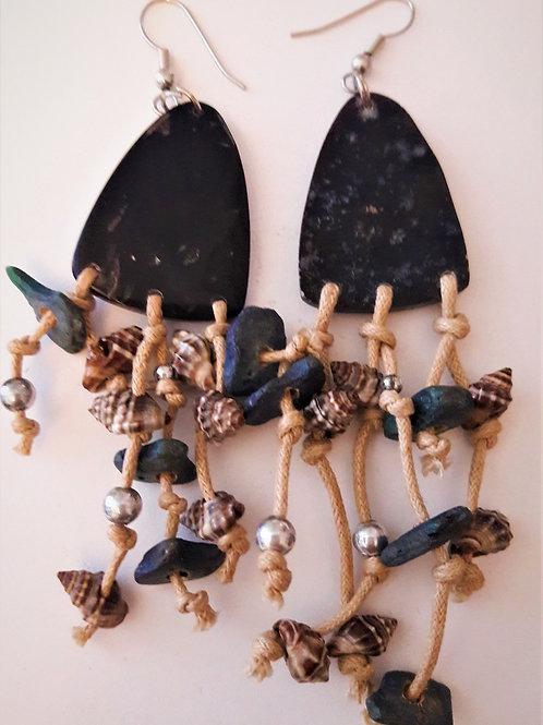 Handmade Natural Stone Shell Rope Drop Long Earrings